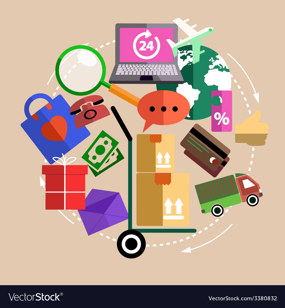 Internet shopping process delivery vector | Price: 1 Credit (USD $1)