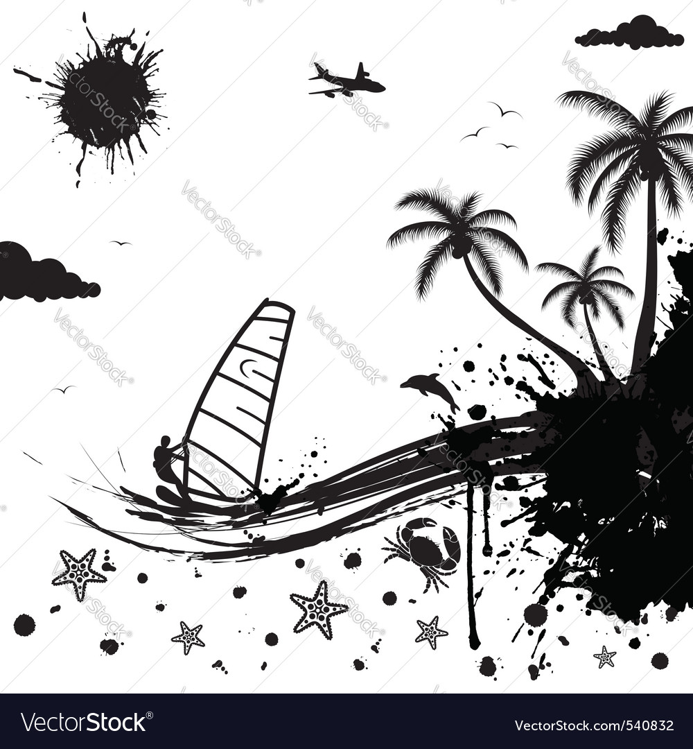 Isolated summer background with palm tree dolphin vector | Price: 1 Credit (USD $1)