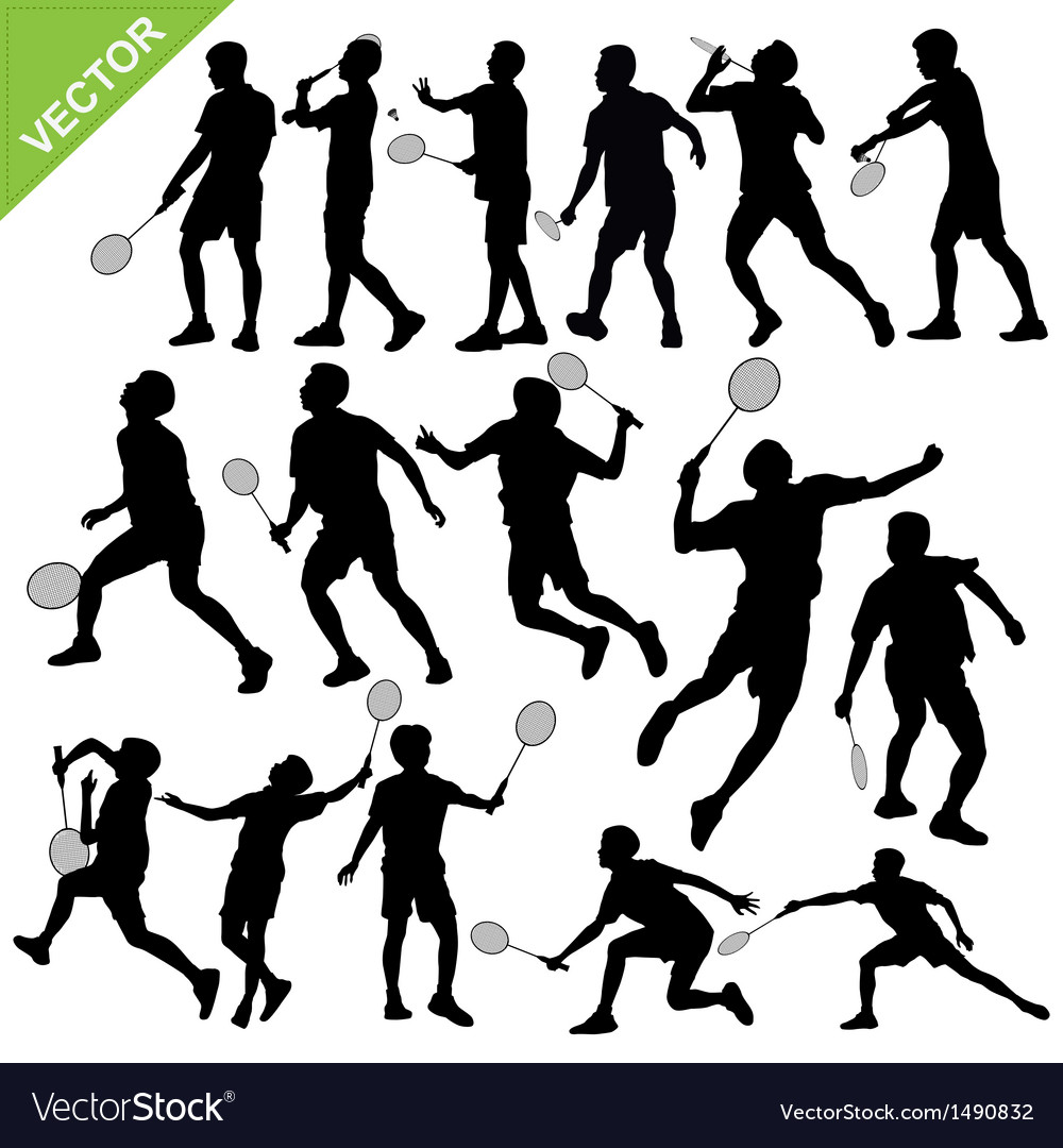 Men silhouettes play badminton vector | Price: 1 Credit (USD $1)