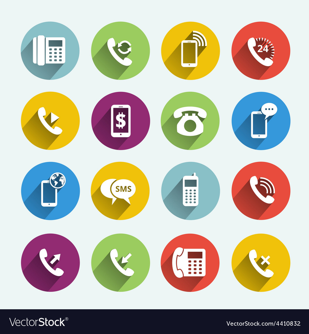 Phone handset flat icons vector   Price: 1 Credit (USD $1)