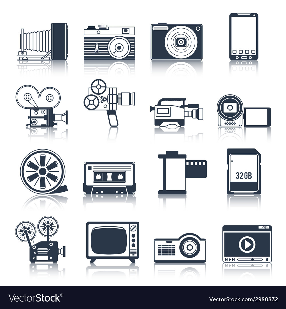 Photo video icons set black vector | Price: 1 Credit (USD $1)