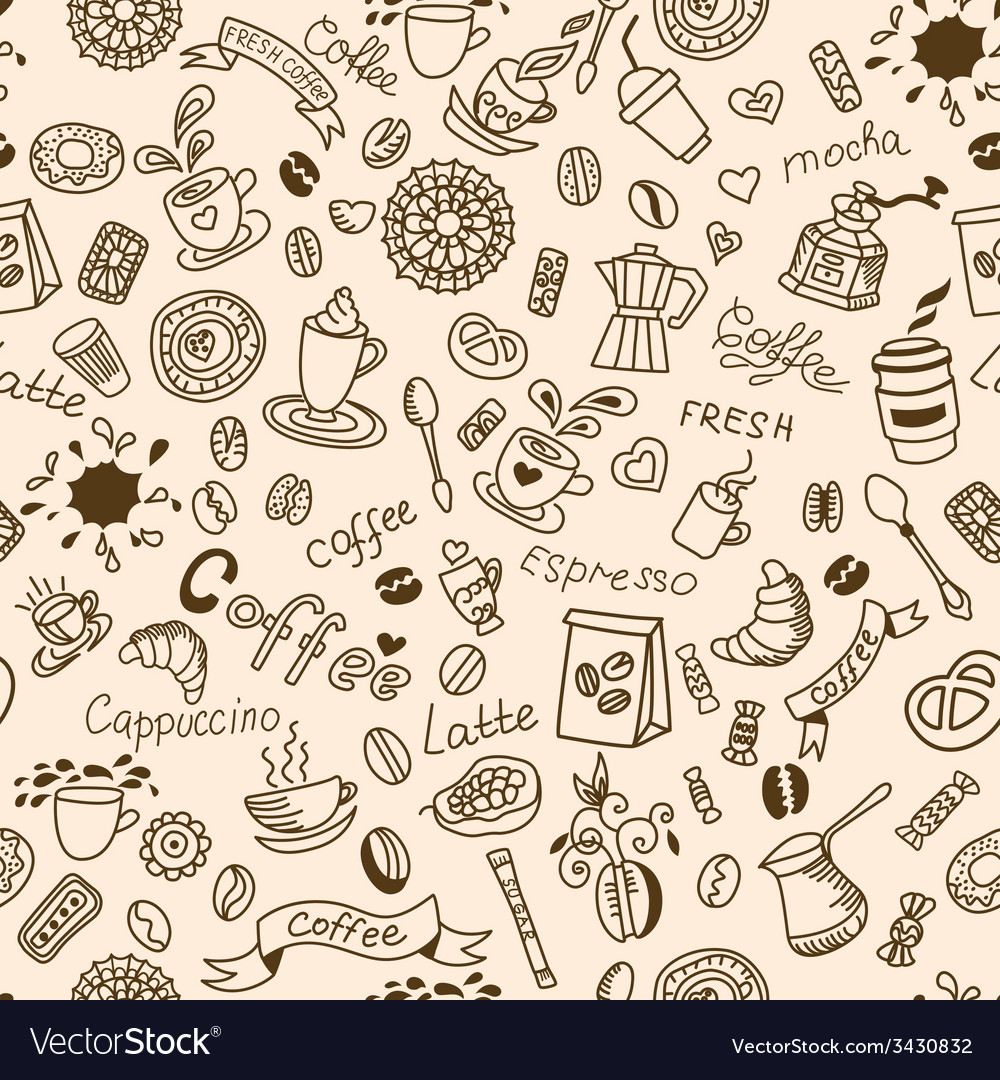Seamless doodles background with coffee vector | Price: 1 Credit (USD $1)