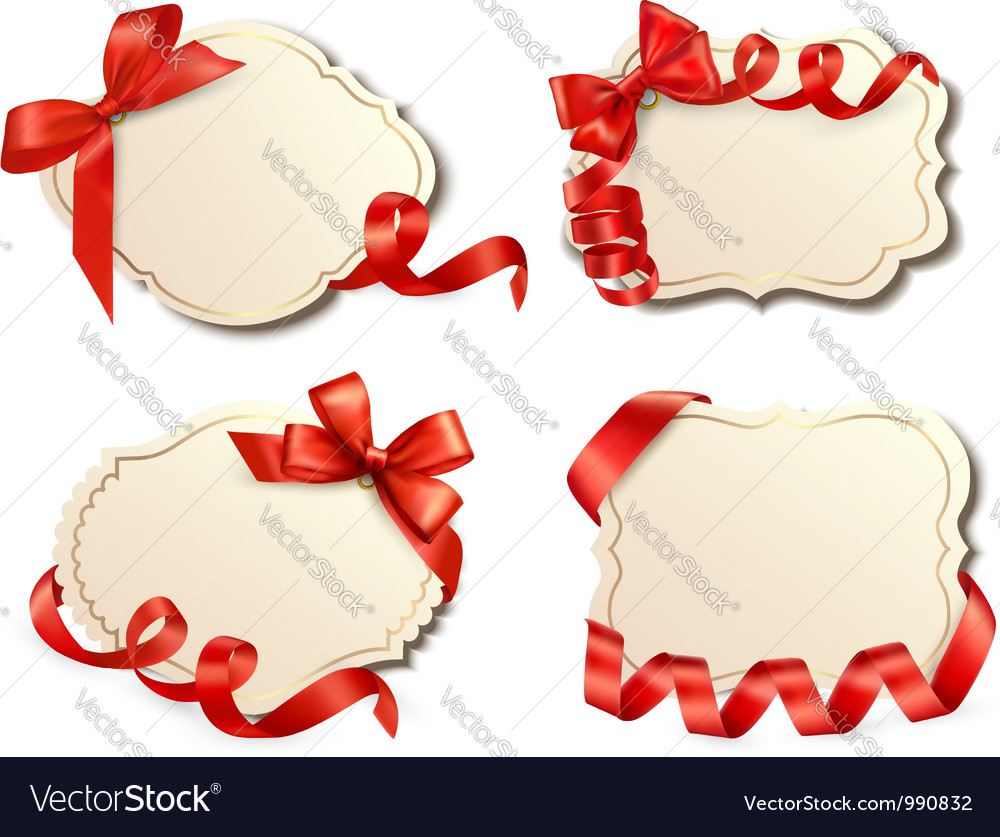 Set of old labels with red bows and ribbons vector | Price: 1 Credit (USD $1)