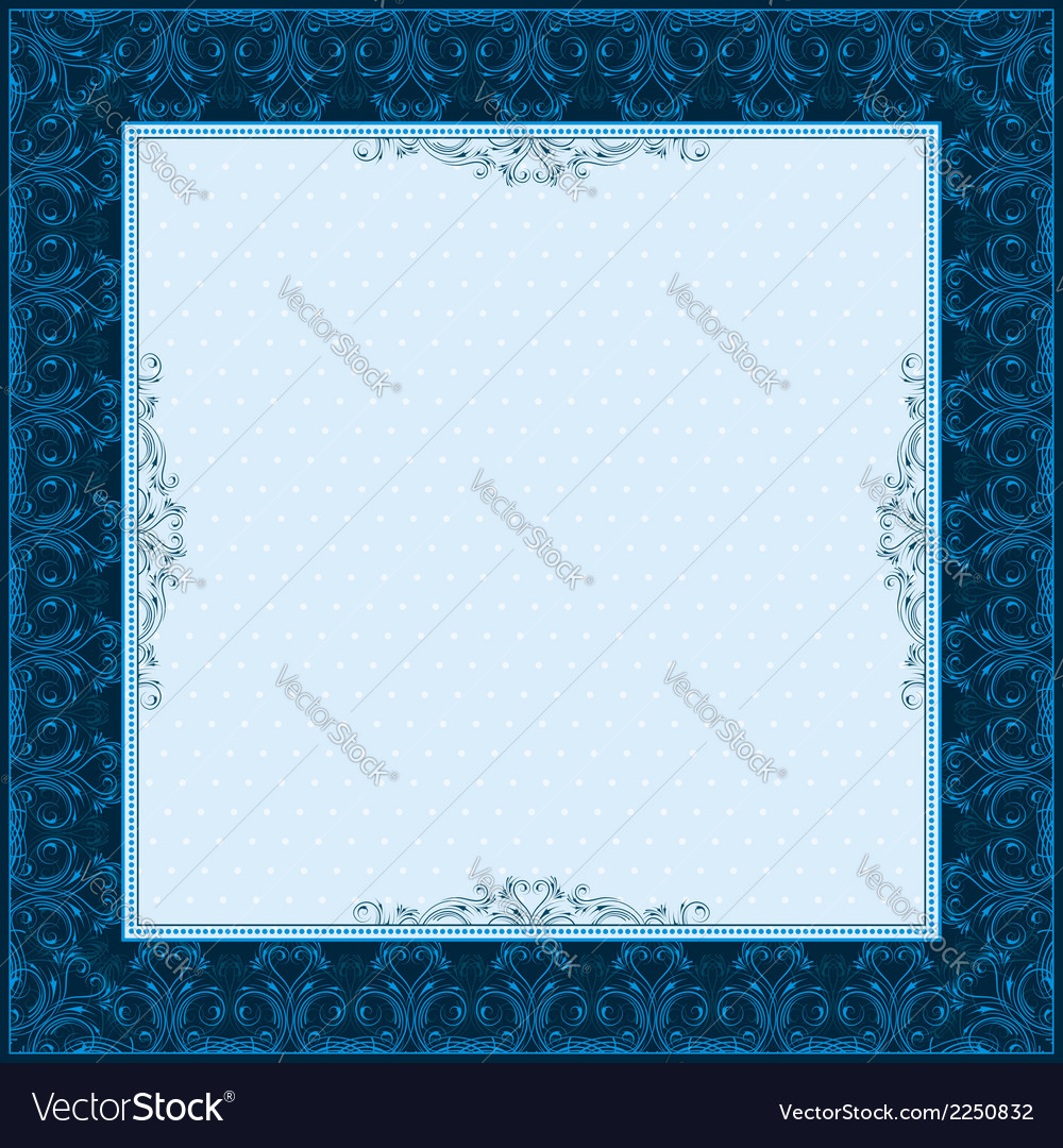 Square blue background with decorative ornate vector | Price: 1 Credit (USD $1)