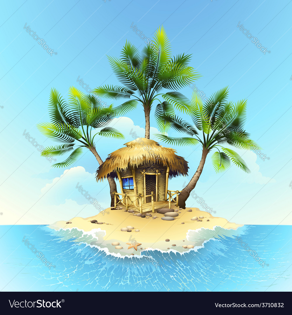 Tropical bungalow on island in ocean vector | Price: 3 Credit (USD $3)