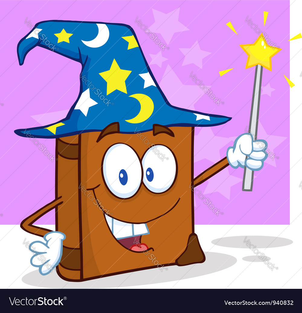 Wizard book cartoon character holding a magic wand vector | Price: 3 Credit (USD $3)