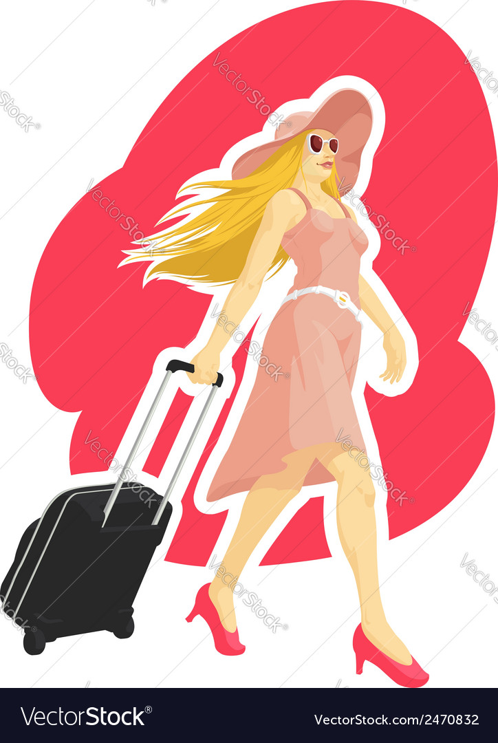 Woman tourist travelling with suitcase vector | Price: 1 Credit (USD $1)
