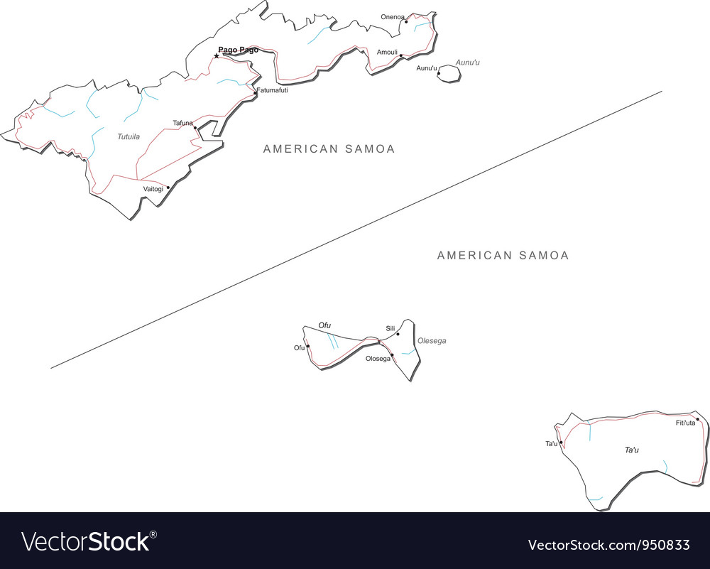 American samoa black white map vector | Price: 1 Credit (USD $1)