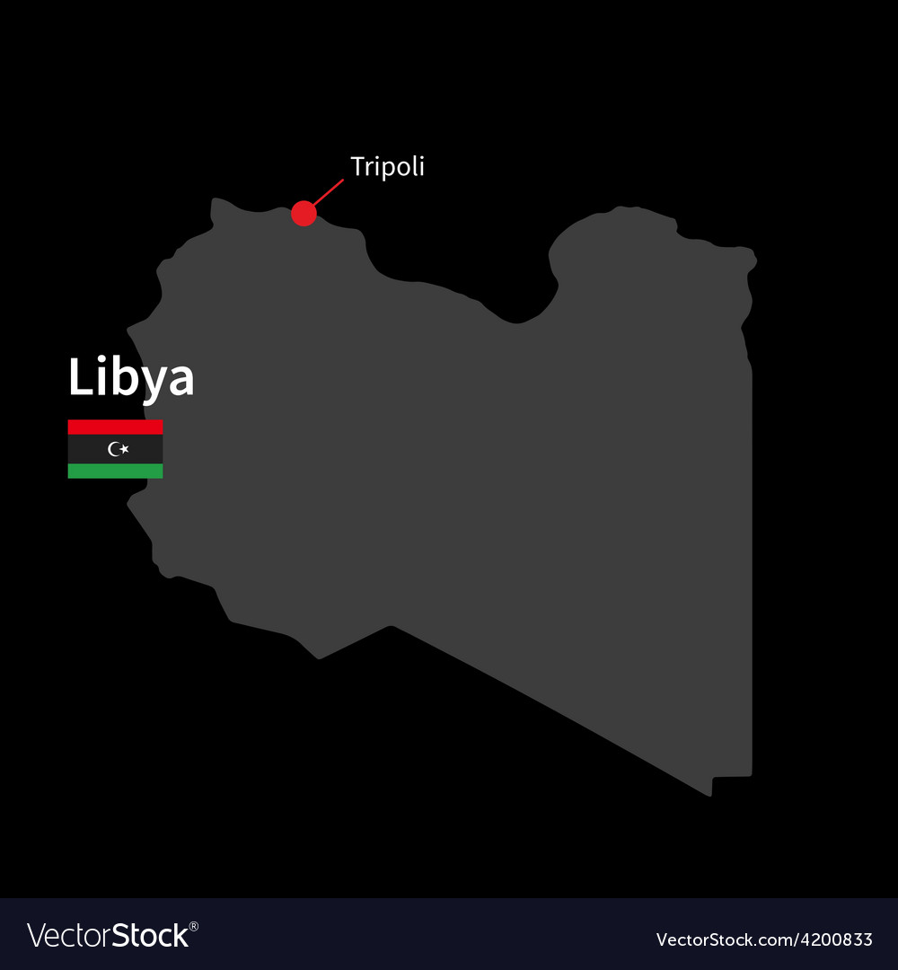 Detailed map of libya and capital city tripoli vector | Price: 1 Credit (USD $1)