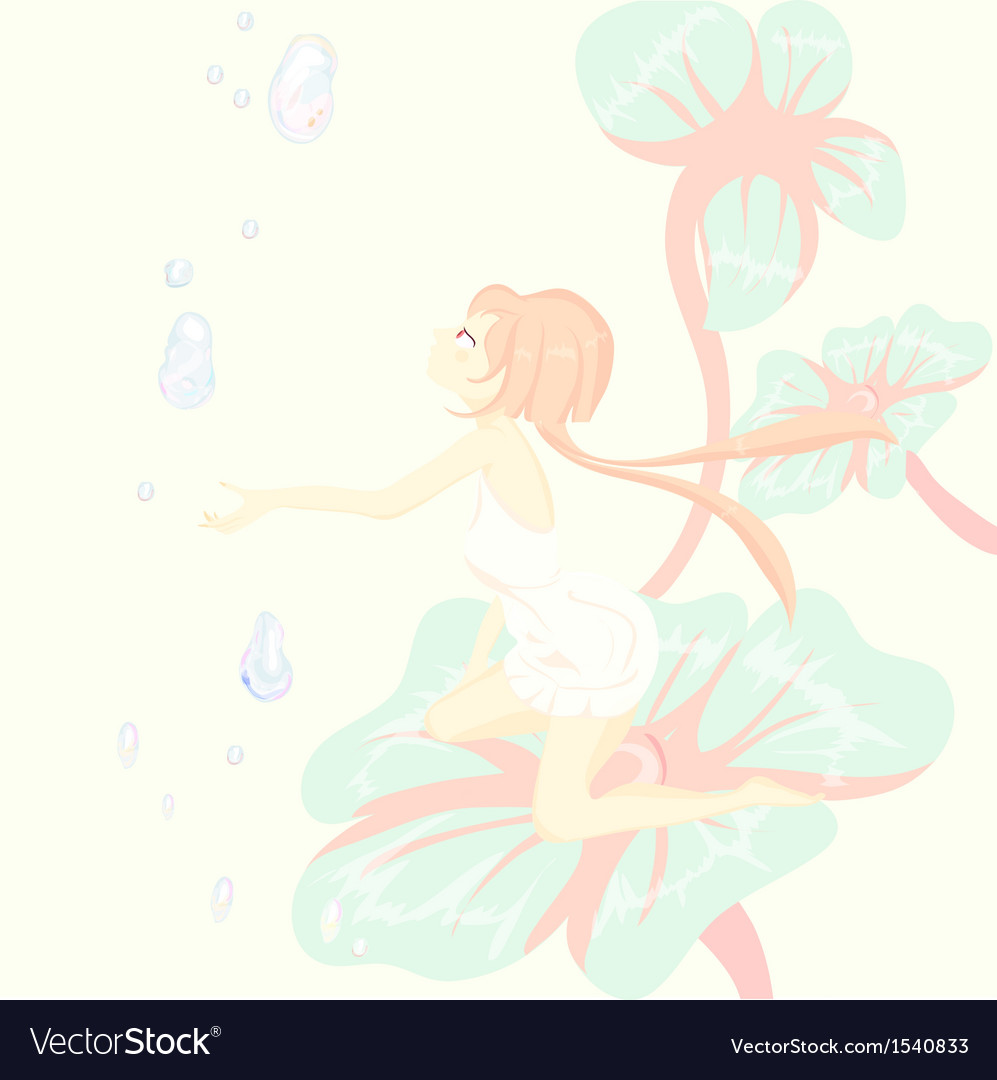 Fantasy fairy tale thumbelina is sitting pretty on vector | Price: 1 Credit (USD $1)