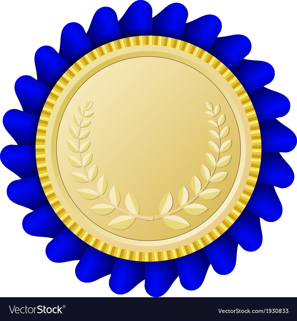 Gold medallion with blue ribbon vector | Price: 1 Credit (USD $1)