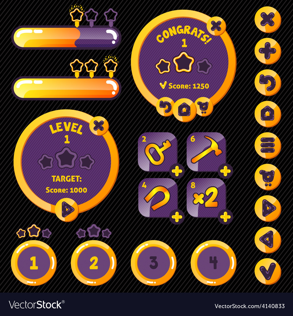 Golden stylish game interface woth level vector | Price: 1 Credit (USD $1)
