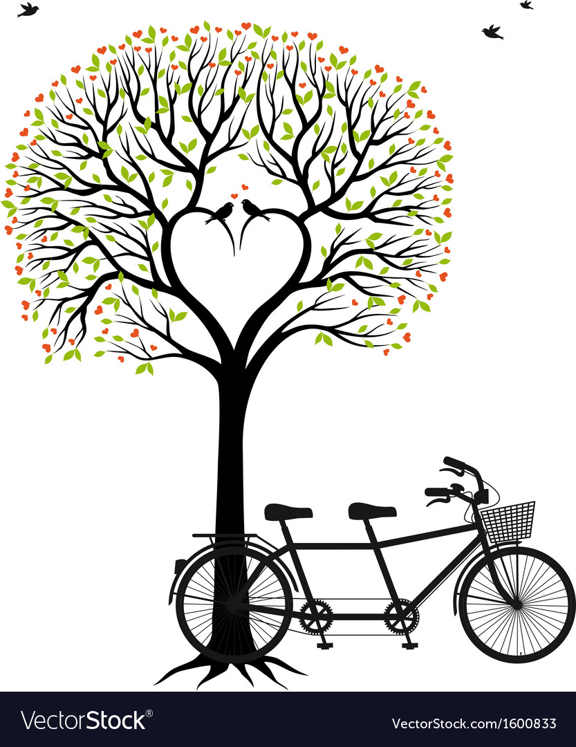 Heart tree with birds and bicycle vector