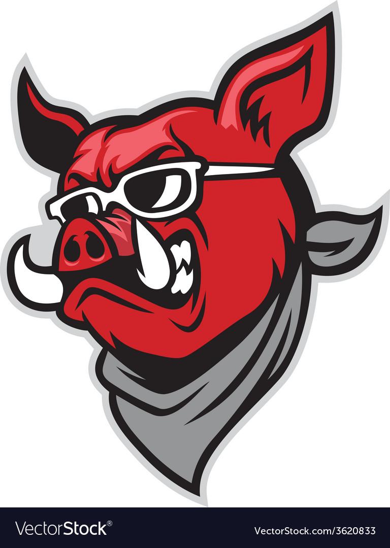 Hog head wear a scarf vector | Price: 3 Credit (USD $3)