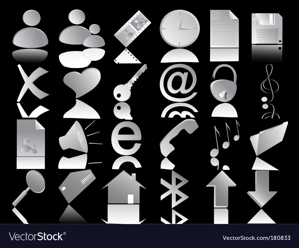 Icons set on the black vector | Price: 1 Credit (USD $1)
