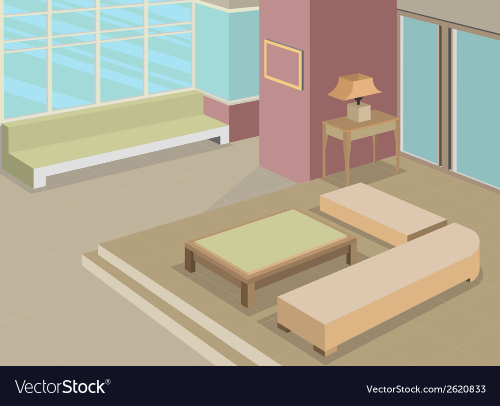 Living room scene interior vector | Price: 1 Credit (USD $1)