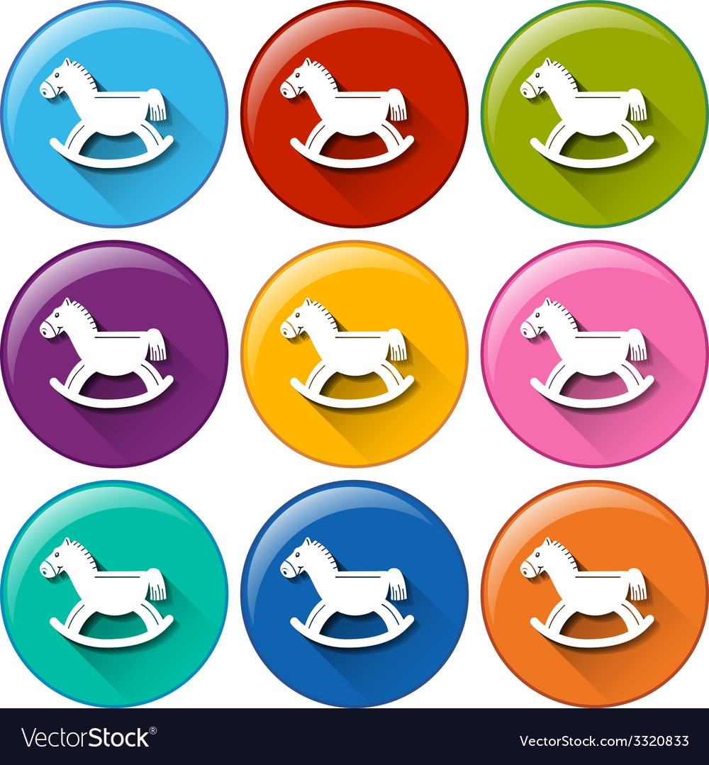 Round buttons with horse toys vector | Price: 1 Credit (USD $1)