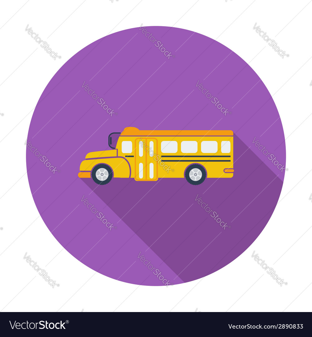 School bus flat icon vector | Price: 1 Credit (USD $1)