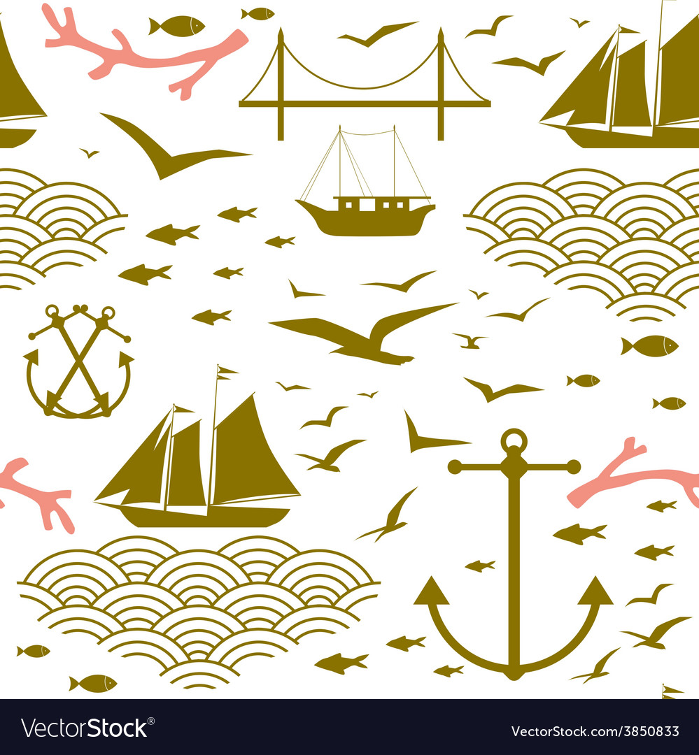Sea voyage seamless pattern vector | Price: 1 Credit (USD $1)
