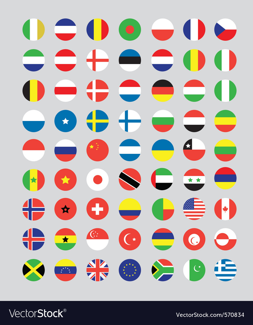 A set of flag buttons vector | Price: 1 Credit (USD $1)