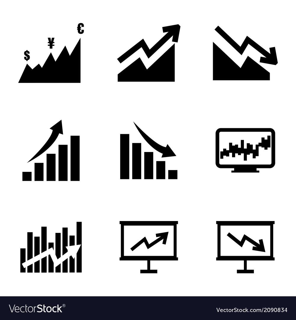 Black economic icons set vector | Price: 1 Credit (USD $1)