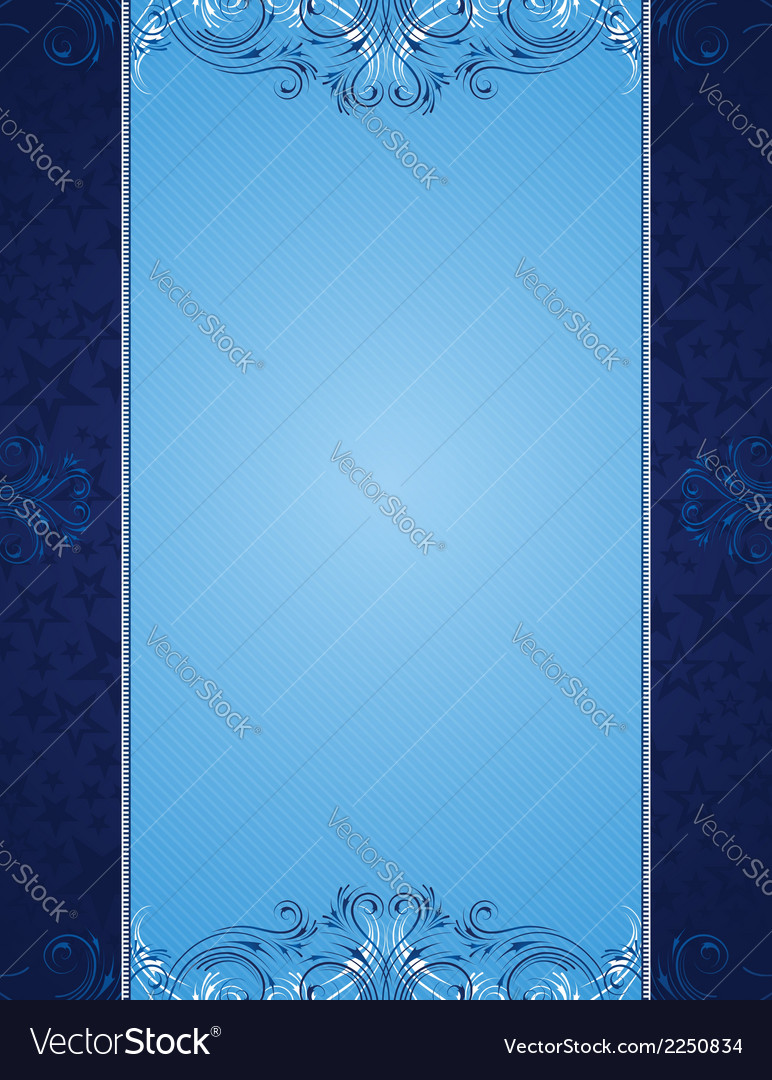 Blue background with decorative ornaments and hear vector | Price: 1 Credit (USD $1)