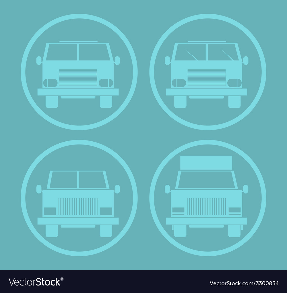 Blue cars icon set vector | Price: 1 Credit (USD $1)