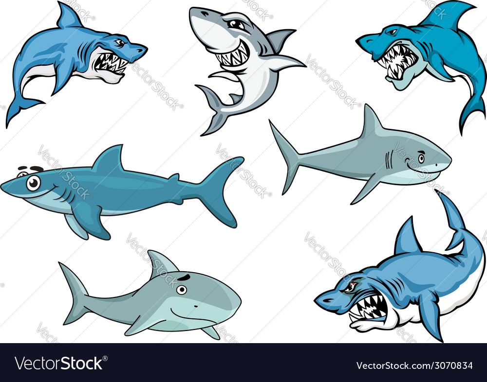 Cartoon sharks with various expressions vector | Price: 1 Credit (USD $1)