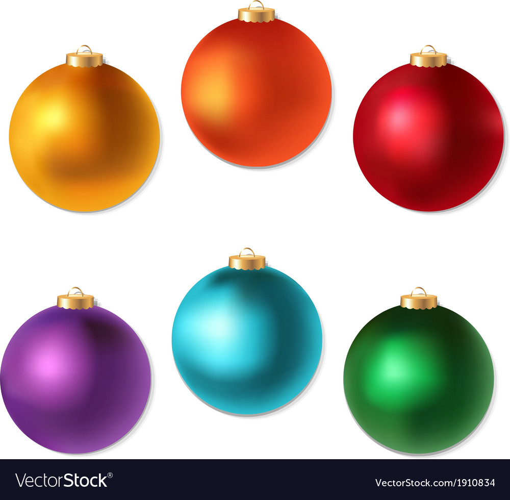 Colorful christmas balls set vector | Price: 1 Credit (USD $1)