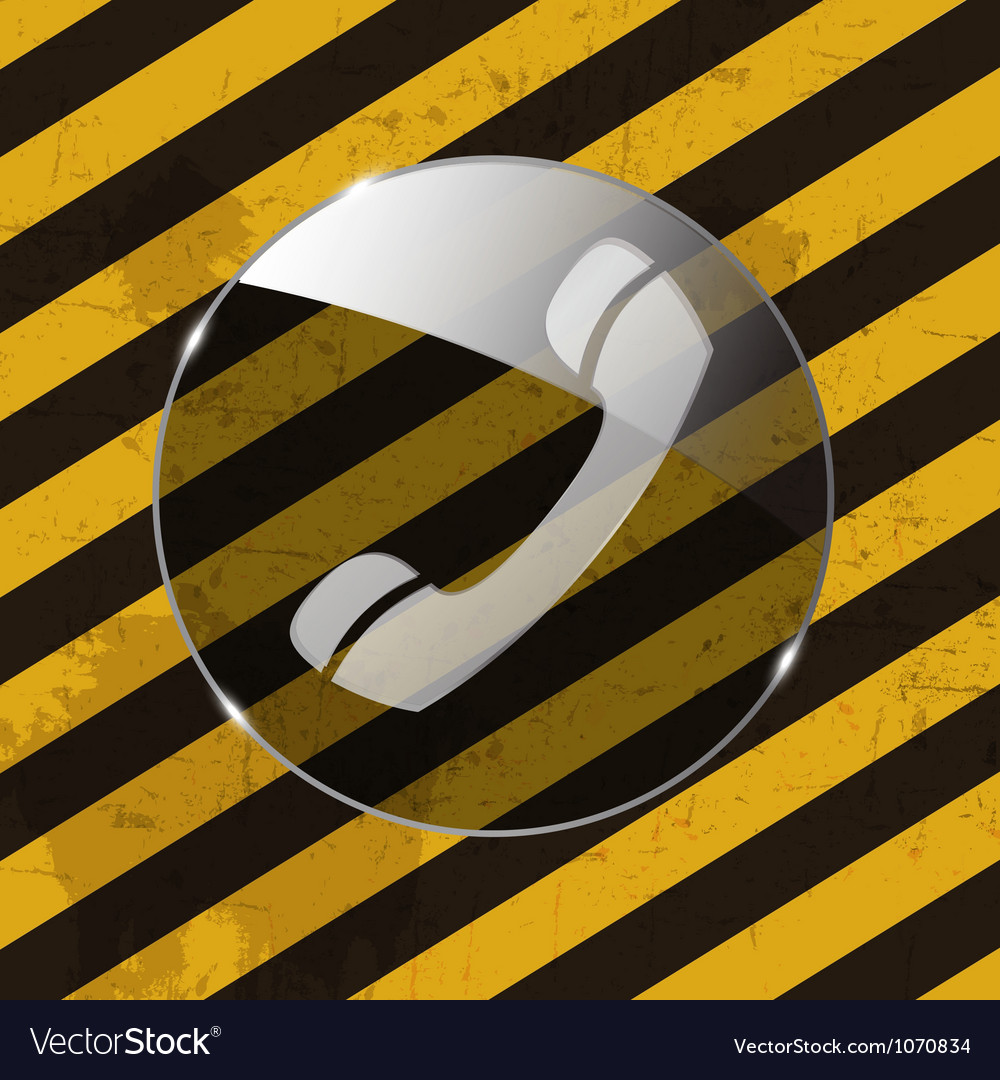 Glass phone button icon on grunge striped vector   Price: 1 Credit (USD $1)