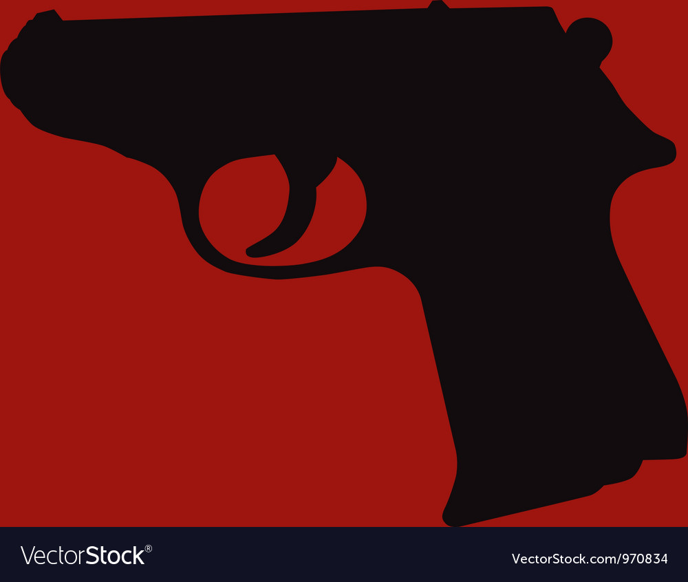 Hand gun silhouette vector | Price: 1 Credit (USD $1)