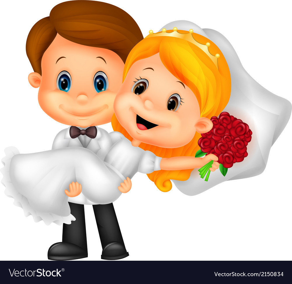 Kids cartoon playing bride and groom vector | Price: 1 Credit (USD $1)
