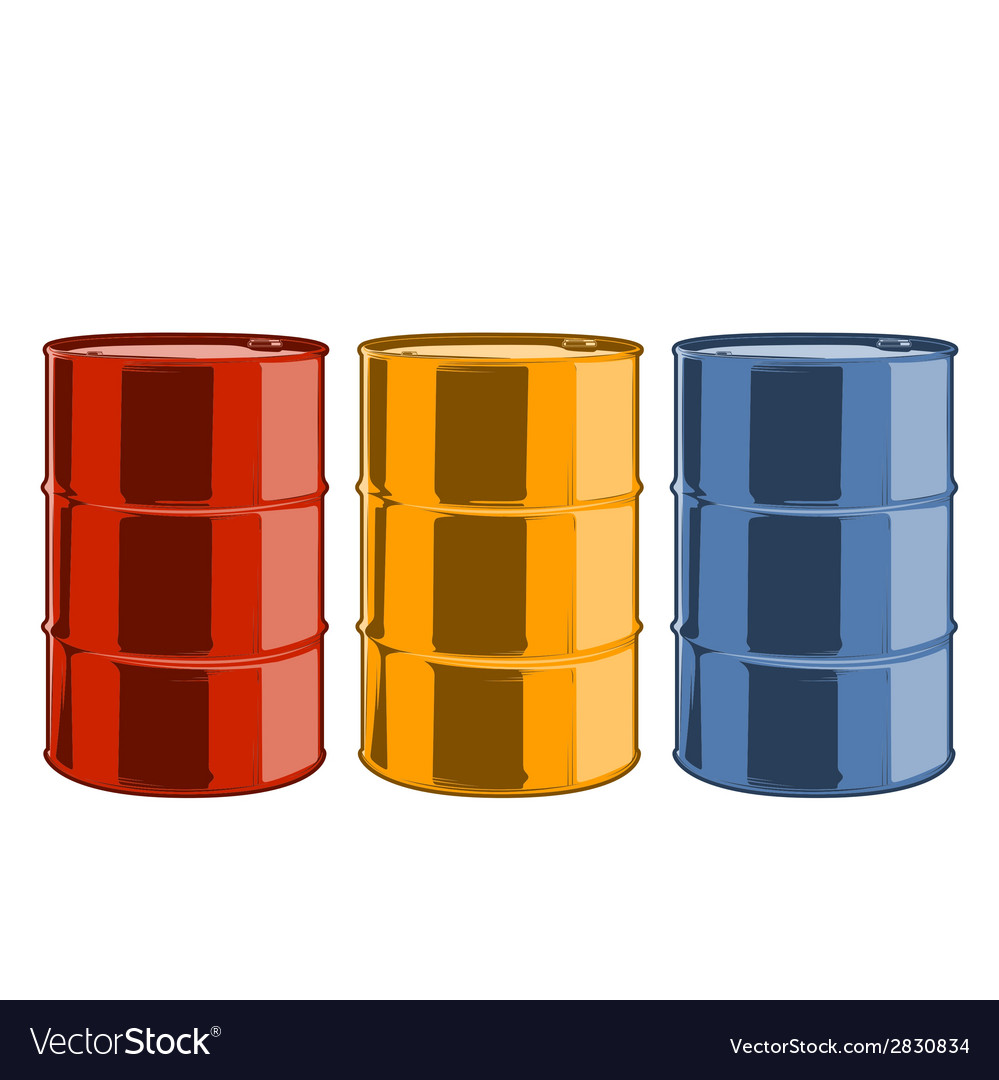 Red yellow and blue steel oil barrels vector | Price: 1 Credit (USD $1)