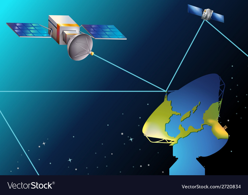 Satellites near earth vector | Price: 1 Credit (USD $1)