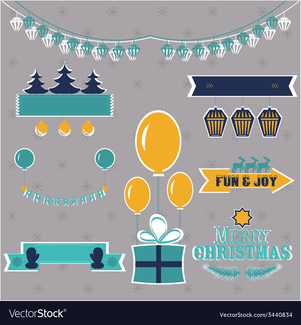Set of christmas shapes and labels in retro style vector | Price: 1 Credit (USD $1)