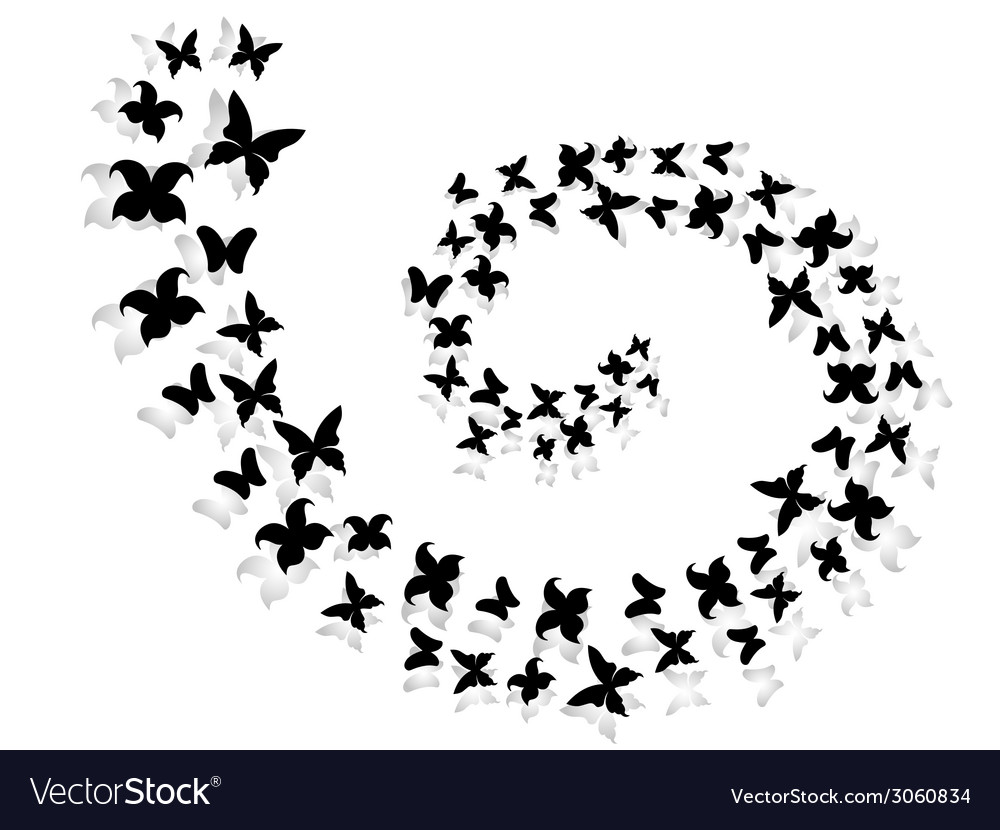 Spiral of flying butterflies vector | Price: 1 Credit (USD $1)