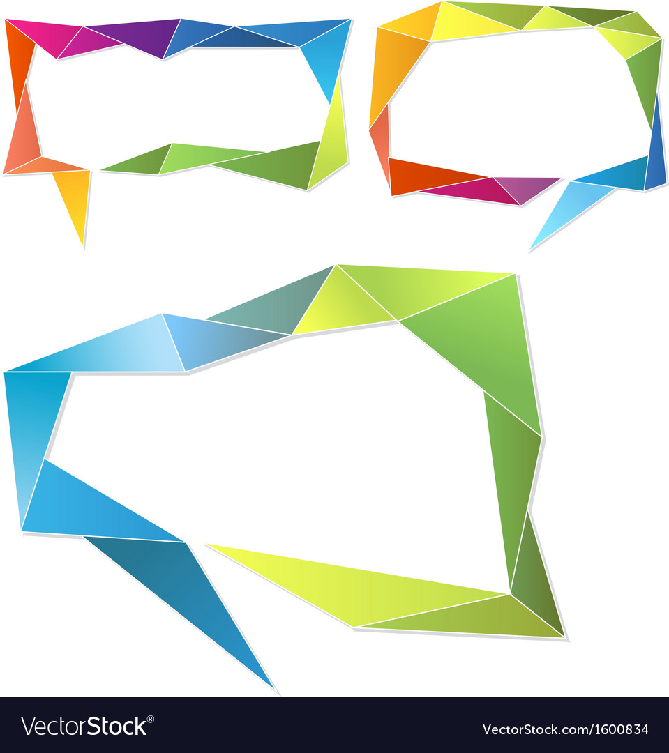 Triangle frames geometric speech bubbles set vector | Price: 1 Credit (USD $1)