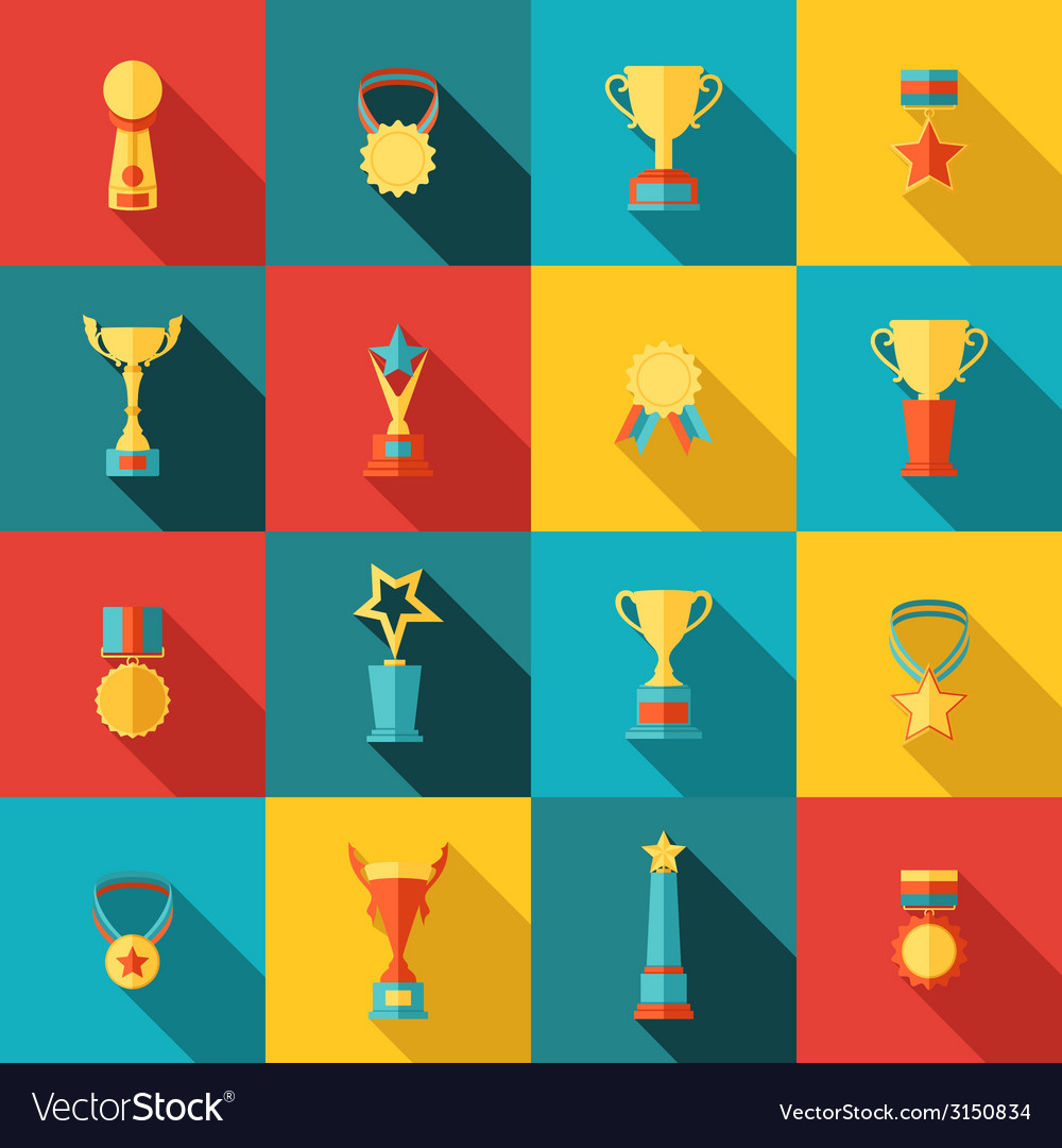 Trophy icons set flat vector | Price: 1 Credit (USD $1)