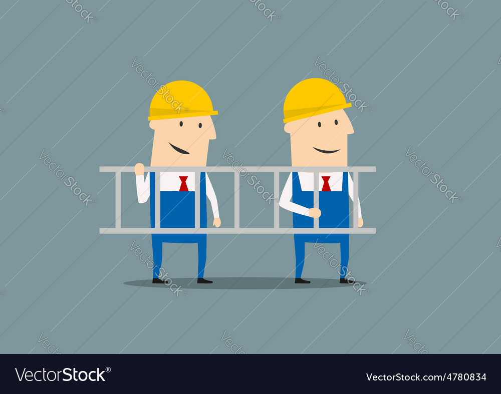 Two engineers in overallses carrying ladder vector | Price: 1 Credit (USD $1)