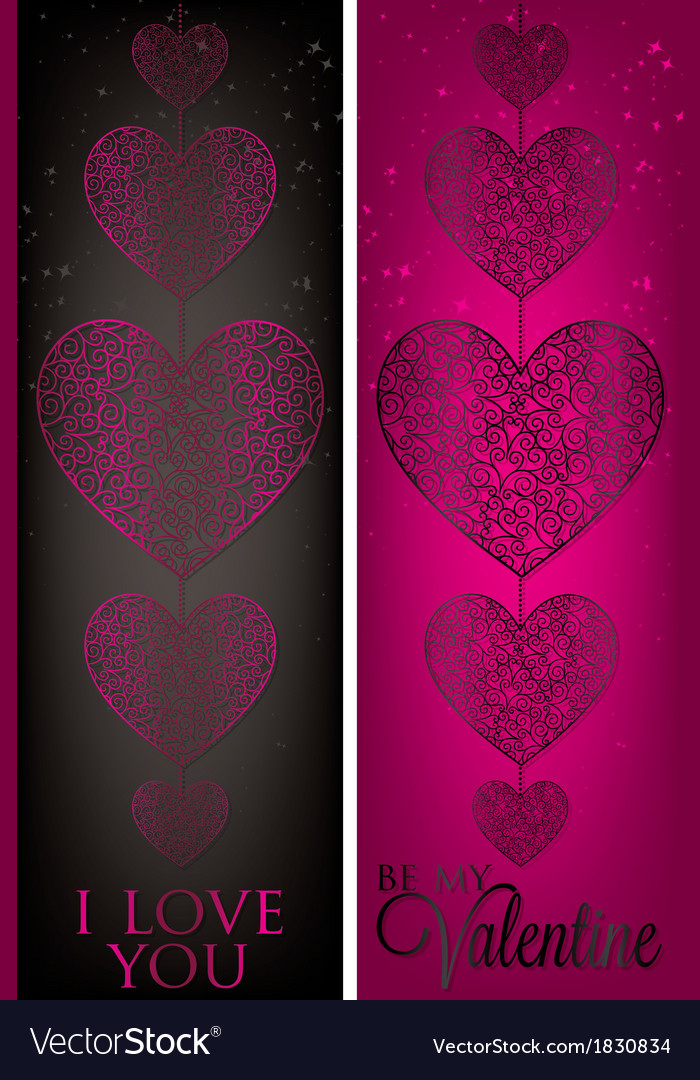 Valentines day filigree banners in format vector | Price: 1 Credit (USD $1)