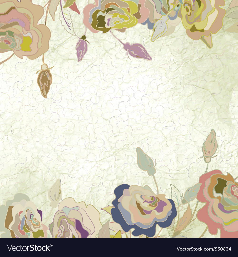 Vintage floral roses background vector | Price: 1 Credit (USD $1)
