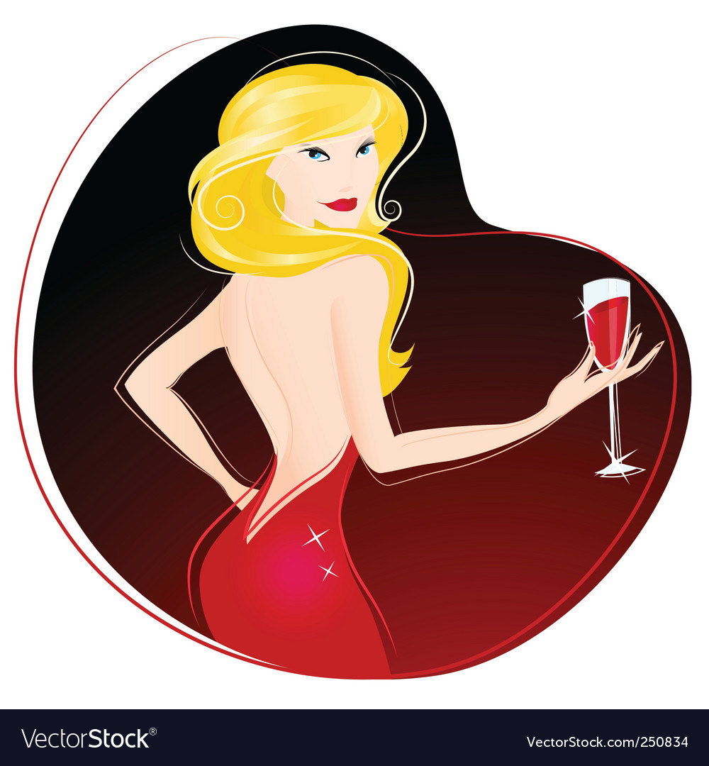 Woman drinking wine vector | Price: 3 Credit (USD $3)