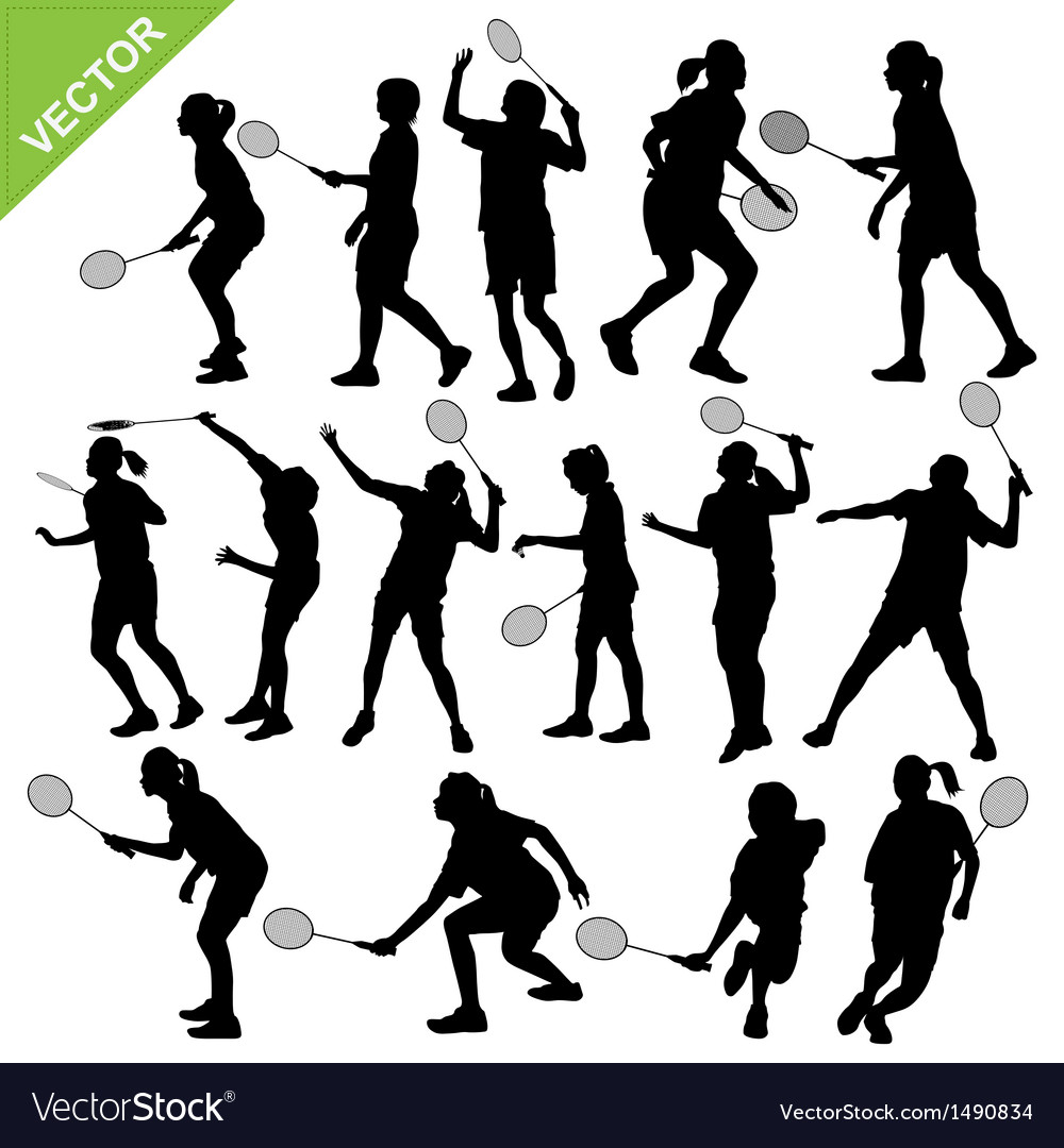 Women silhouettes play badminton vector | Price: 1 Credit (USD $1)