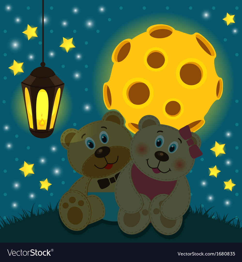 Bears under the moon vector   Price: 1 Credit (USD $1)
