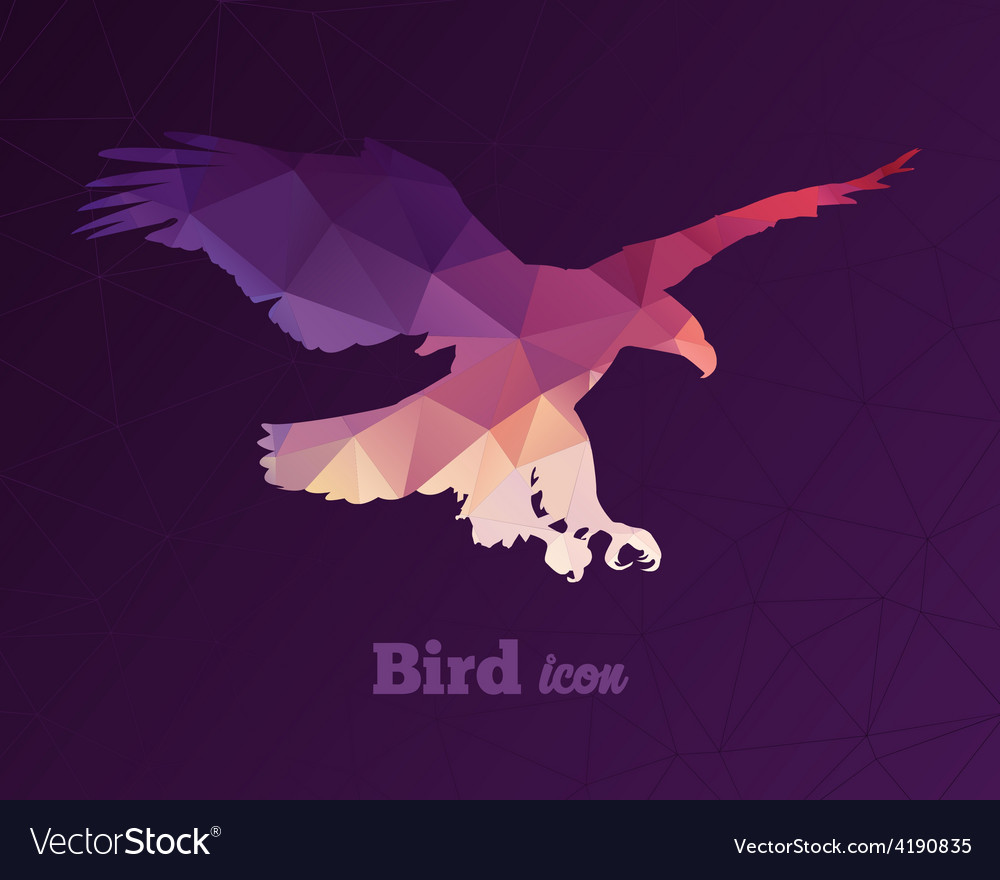 Colorful animal icon of triangles eagle vector | Price: 1 Credit (USD $1)