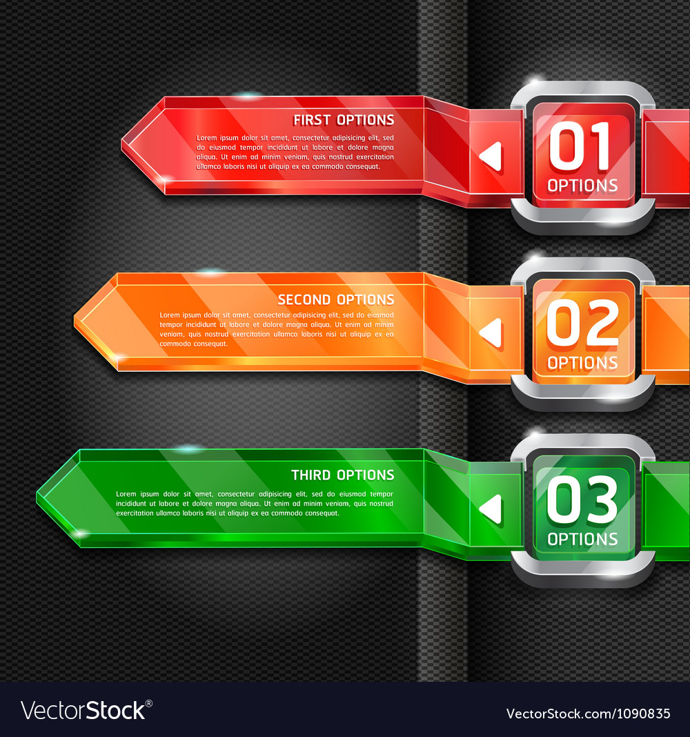 Colorful buttons website style options banner vector | Price: 1 Credit (USD $1)