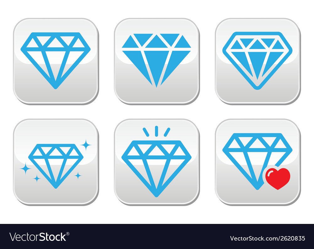 Diamond luxury buttons set vector | Price: 1 Credit (USD $1)