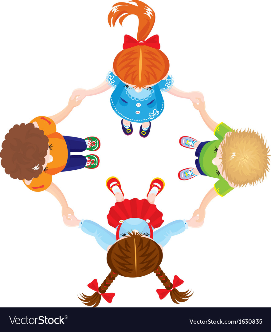 Four kids joining hands to form a circle isolated vector | Price: 3 Credit (USD $3)