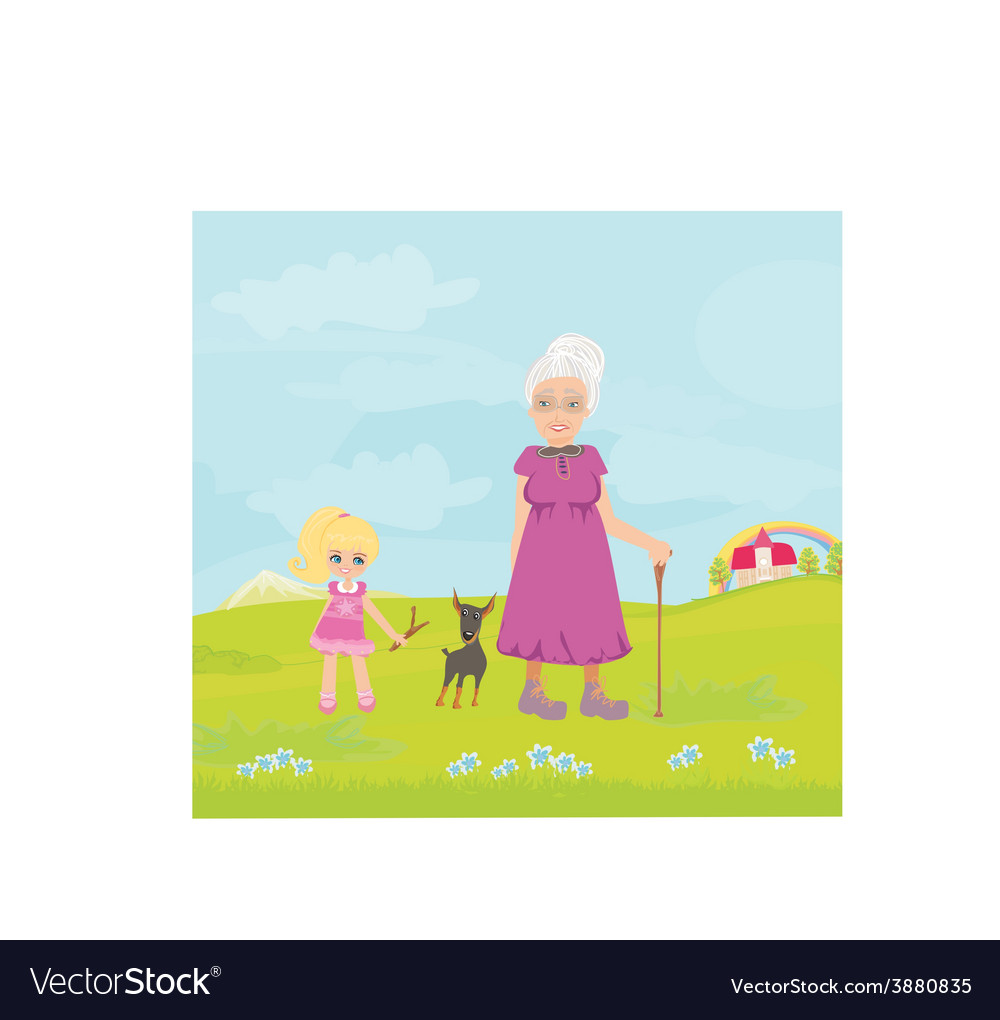 Grandmother with granddaughter and dog on a walk vector | Price: 1 Credit (USD $1)