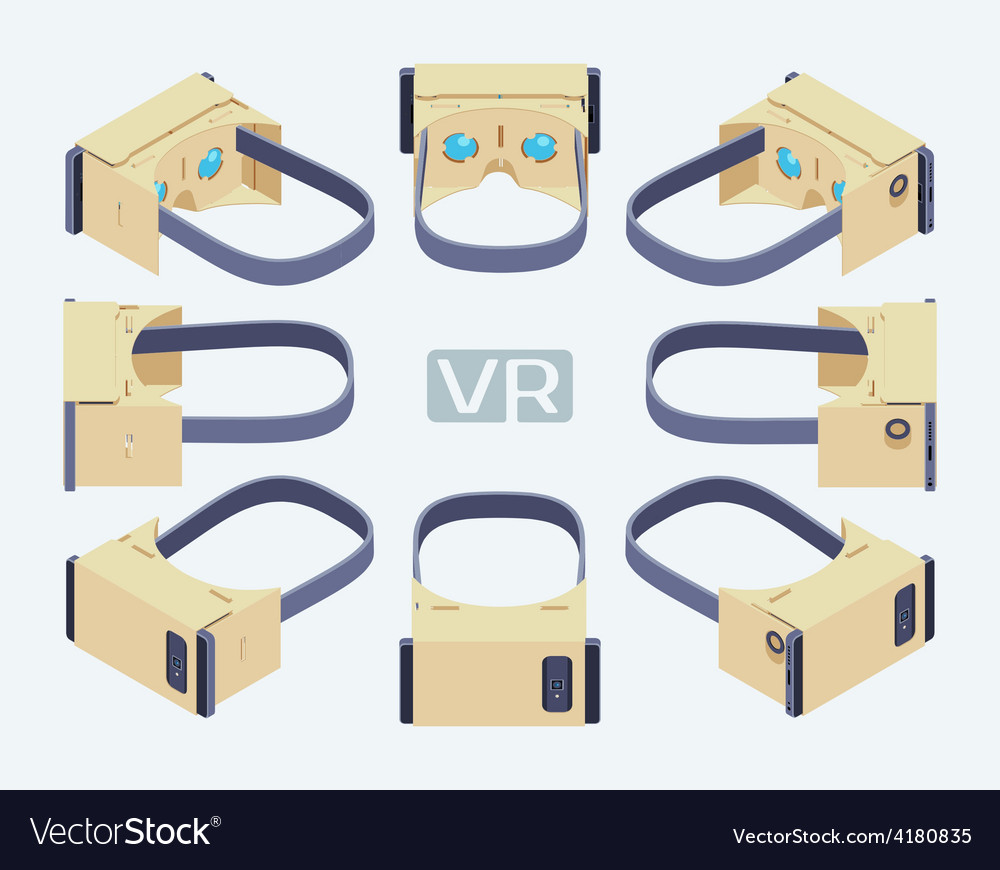 Isometric cardboard virtual reality headset vector | Price: 1 Credit (USD $1)